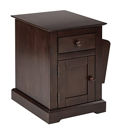 Office Star Colette Side Table With Drawer And Storage Compartment Walnut Finish