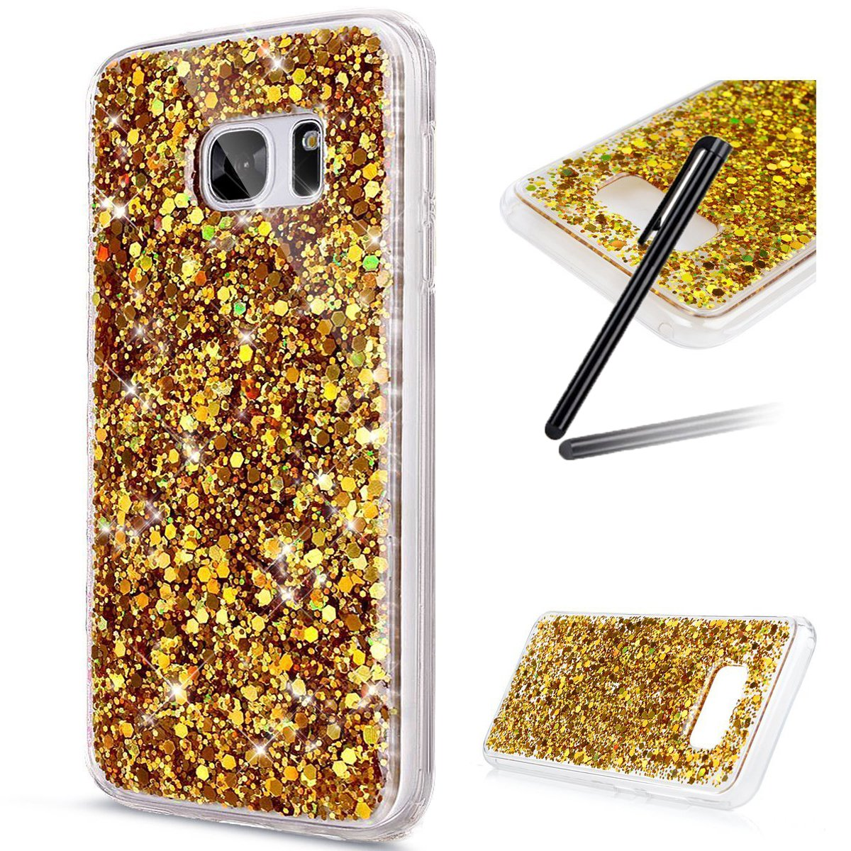 Samsung Galaxy S8 Case, Samsung Galaxy S8 Case Bling, Galaxy S8 Cover, SKYMARS Sparkly Shiny Glitter Bling Powder 3D Diamond Paillette Slim Glitter Flexible Soft Rubber Gel TPU Protective Shell Bumper Case Cover for Samsung Galaxy S8, Bling Gold