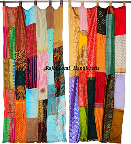 Indian Silk Sari Multi Color Patchwork Curtain and Drapes Home Decor Curtain 6 Pieces
