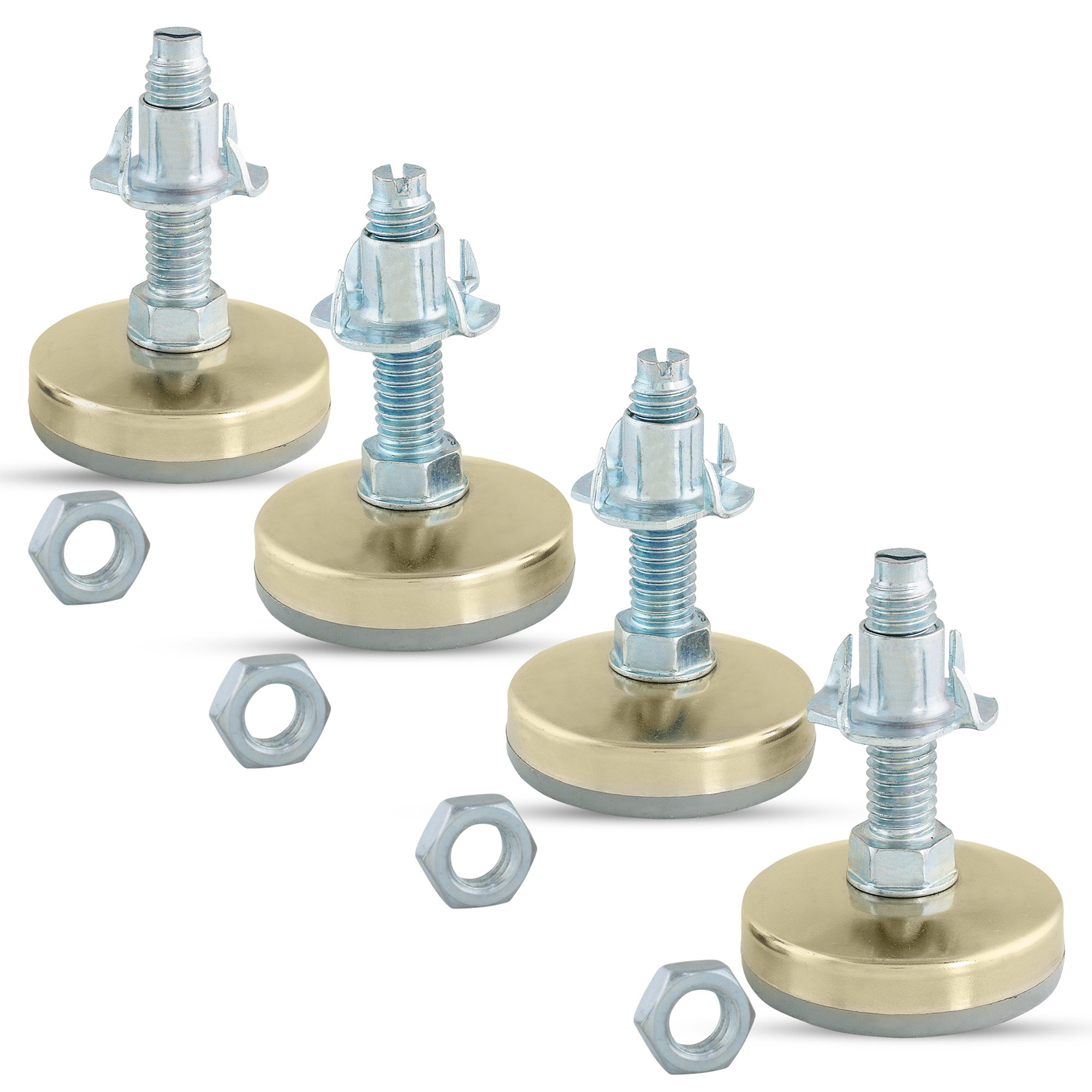 Heavy Duty Furniture Leveler Tee Nut Kit – Set of 4-3/8-16 Non-Skid Leg Levelers for Cabinets or Tables to Adjust Height of The Legs or Feet Jam Nuts to Stabilize Each Foot (Kit with 4 Prong T-Nuts) by Impromech Hardware (Image #2)