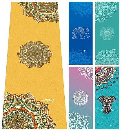Toalla de Yoga, Mat Toalla con Smart esquina bolsillos y elástico Loop, antideslizante Yoga