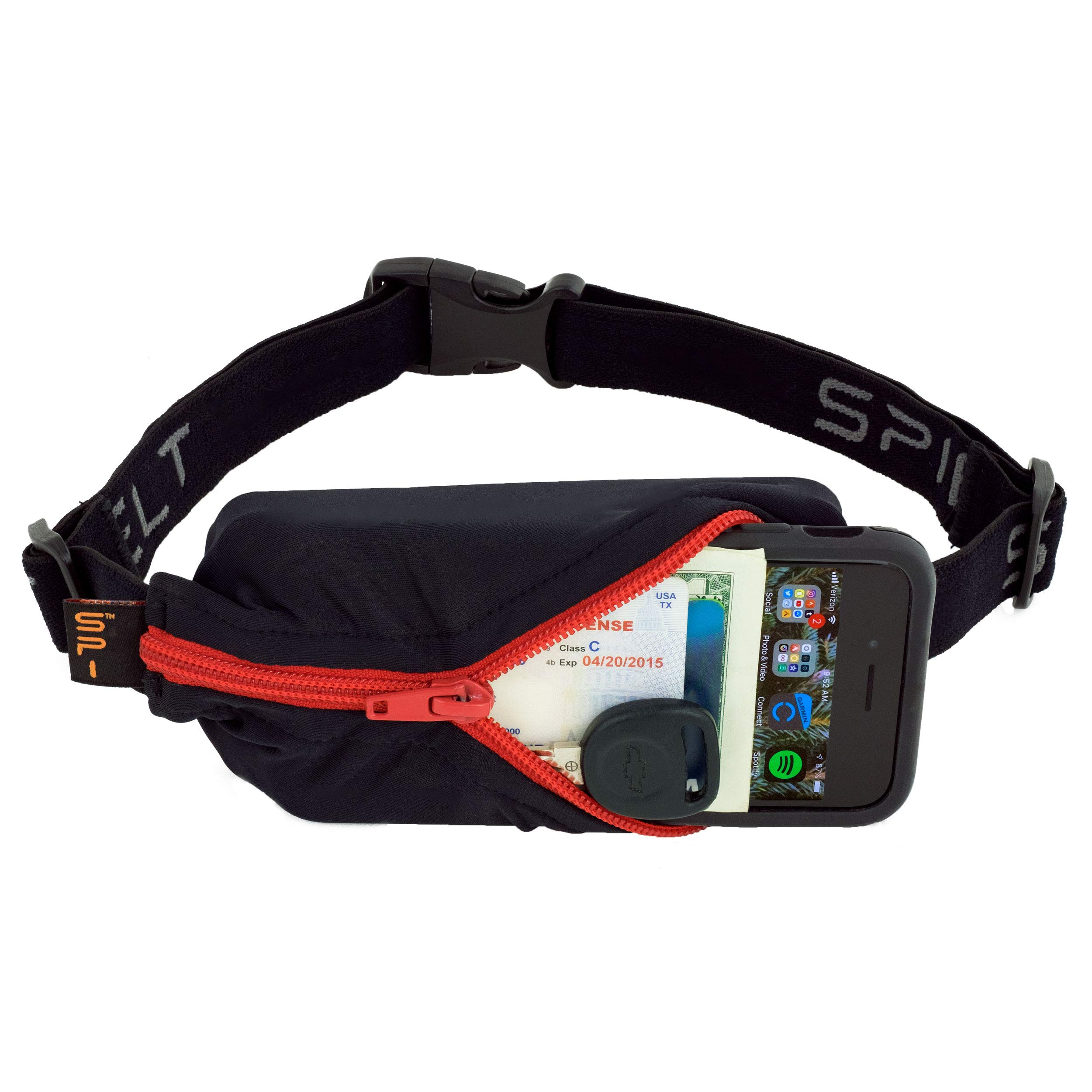 SPIbelt Sports/Running Belt: Original - No-Bounce Running Belt for Runners, Athletes and Adventurers - Fits iPhone 6 and Other Large Phones,Black with Red Zipper by SPIbelt