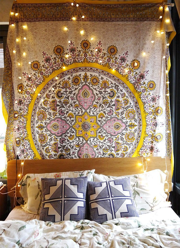flber Sketched Floral Medallion Tapestry Gold Indian Tapestry Wall Hanging Wall Decor,60''x 80'',Twin Size (gold) by flber