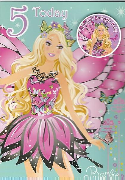 Barbie Carte D Anniversaire 5 Aujourd Hui Amazon Fr Fournitures De Bureau