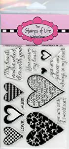Valentines Day Stamps for Card-Making and Scrapbooking Supplies by The Stamps of Life - Hearts2DieFor Cursive Sentiments