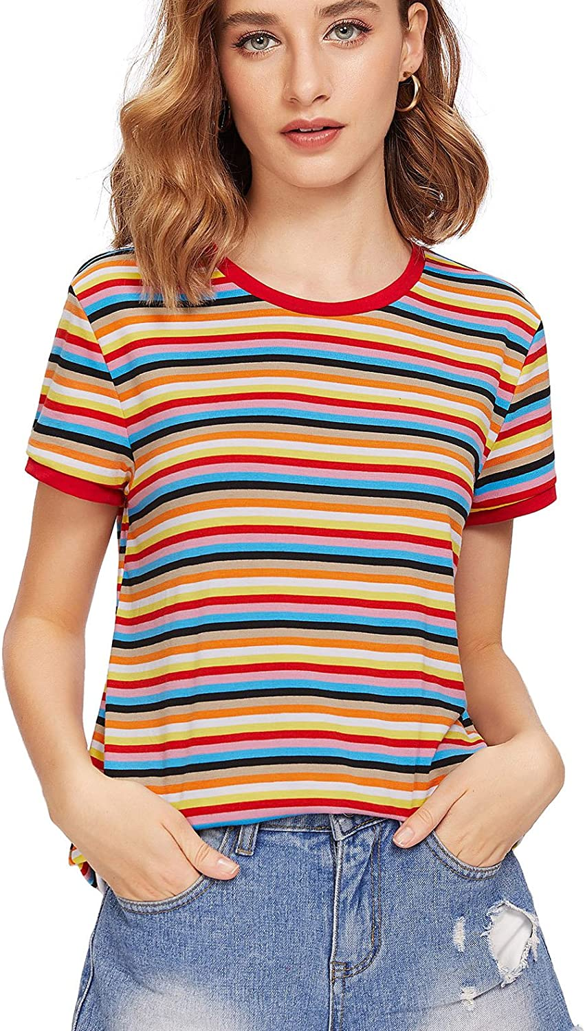 1970s Shirts, Tops, Blouses, T-Shirt Styles | History SheIn Womens Striped Ringer Round Neck Short Sleeve T-Shirt Casual Tops $14.99 AT vintagedancer.com