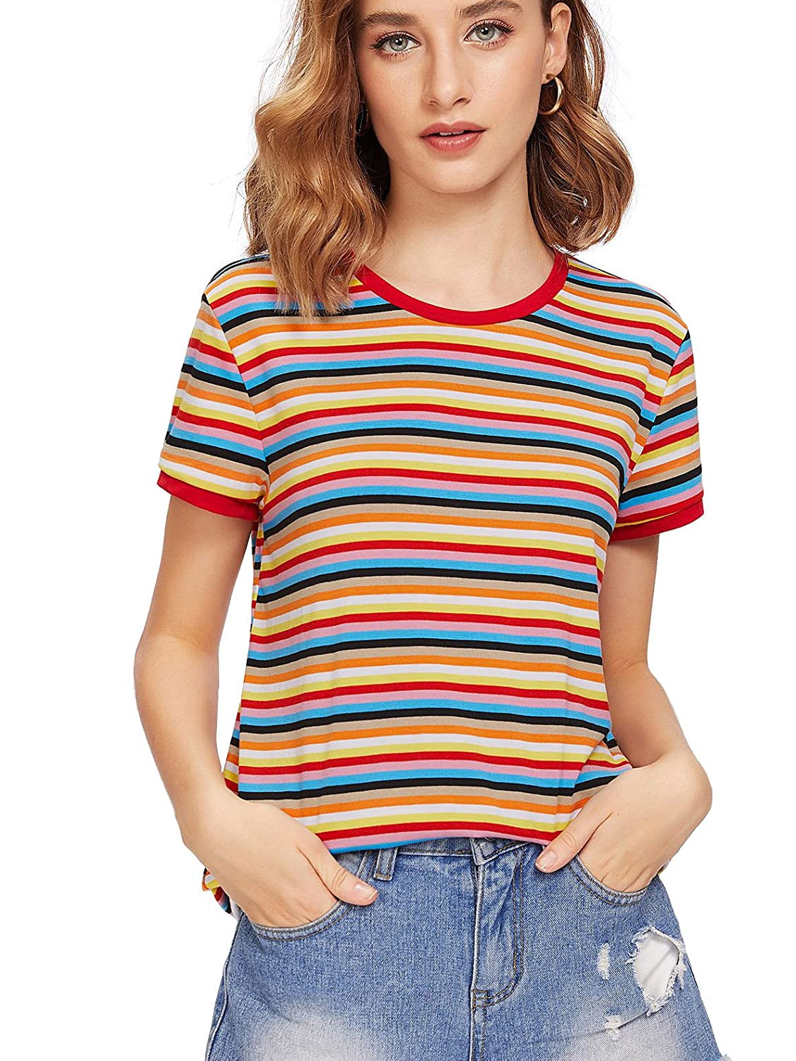 64b993cac1 SheIn Women's Round Neck Short Sleeve Colorful Striped Crop Top at Amazon  Women's Clothing store:
