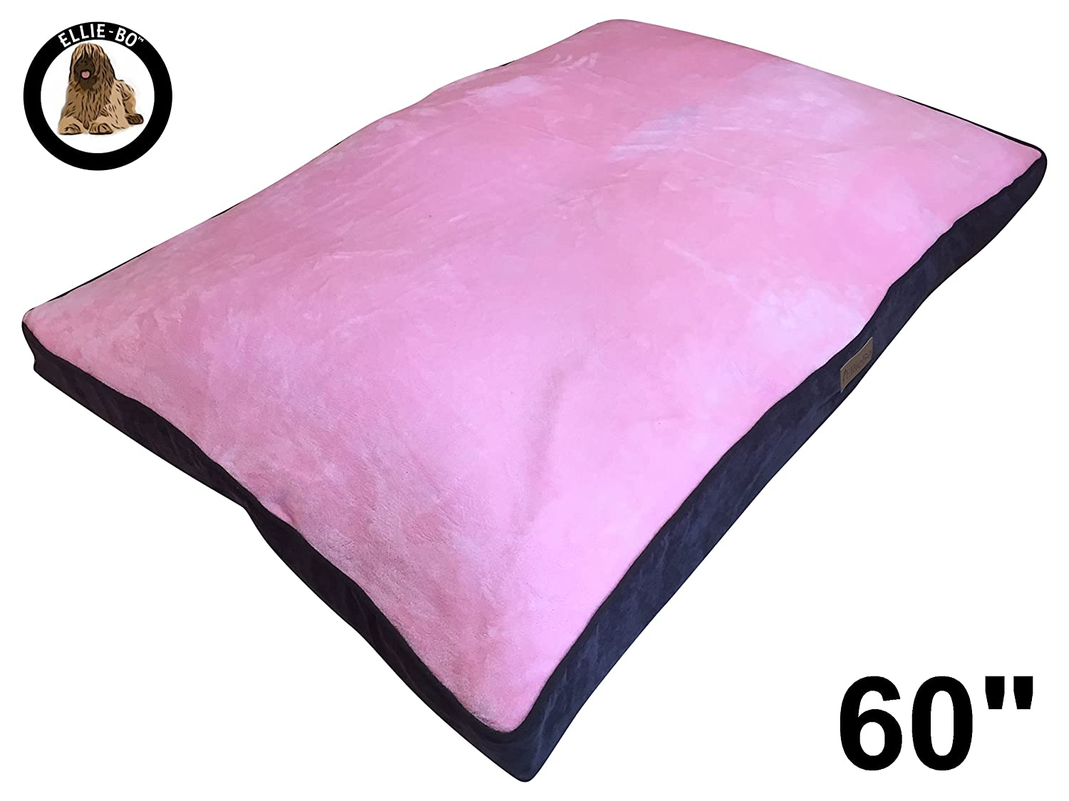 Ellie-Bo Jumbo Dog Bed with Corduroy Sides and Faux Fur Topping, 152 x 100 cm, Brown Pink