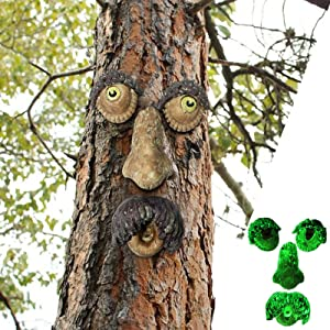 EIIORPO Old Man Tree Hugger,Bark Ghost Face Facial Features Decoration Luminous Tree Face Decor for Outdoor Funny Yard Art Garden Decorations for Easter Creative Props,Glow Garden Statues in Dark. (A)