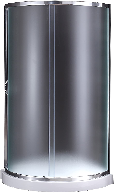 "Ove Decors Breeze 34"" Corner Shower Kit with Acrylic Base   Chrome Finish & Clear Glass"