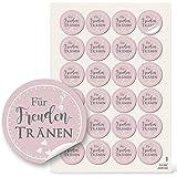 96 Aufkleber selbstklebende Etiketten FÜR FREUNDENTRÄNEN Sticker rosa rosé grau shabby weiß Herzen 4 cm zur Hochzeit – zum Papiertaschentücher Tempo verpacken -Verpackung Papiertüten