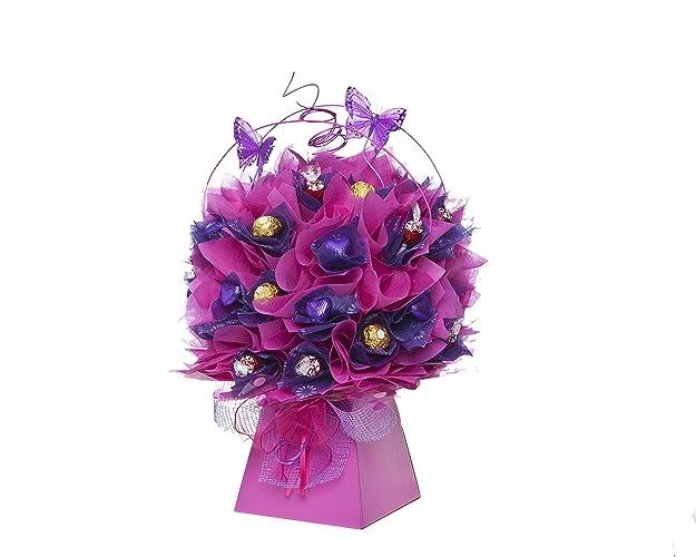 Luscious Ferrero/Lindt Chocolate Bouquet in Pink/Purple: Amazon.co ...