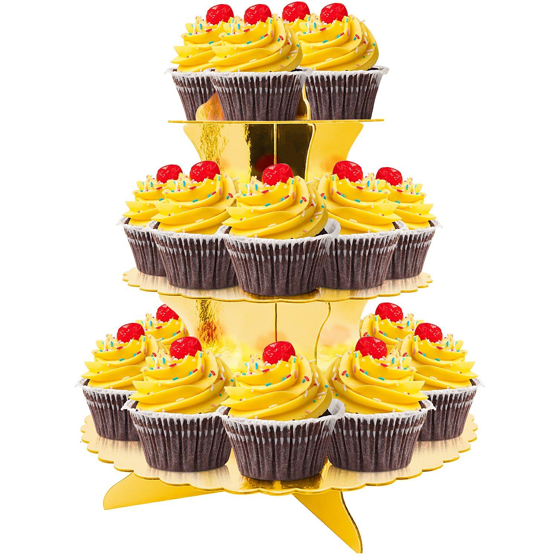 Amazon.com: 3-Tier Cardboard Party Cupcake Display Stand/Dessert ...