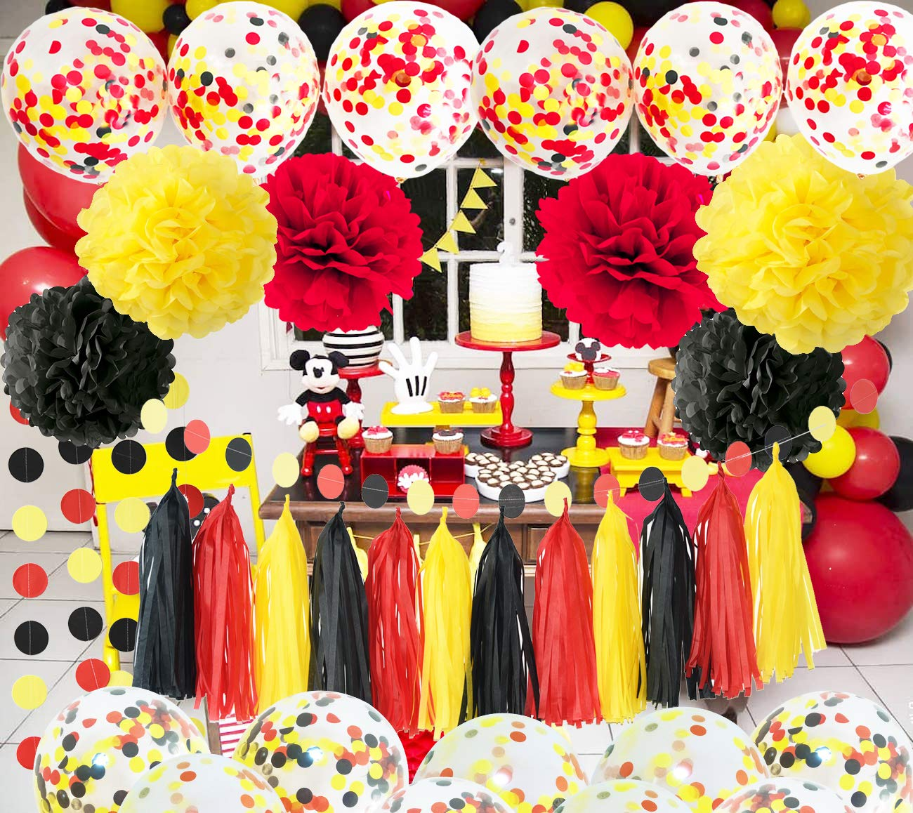 Mickey Mouse Birthday Decorations Mickey Mouse Color Party Supplies Yellow  Black Red Confetti Ballons Fire Truck Birthday Banner,Boy Birthday