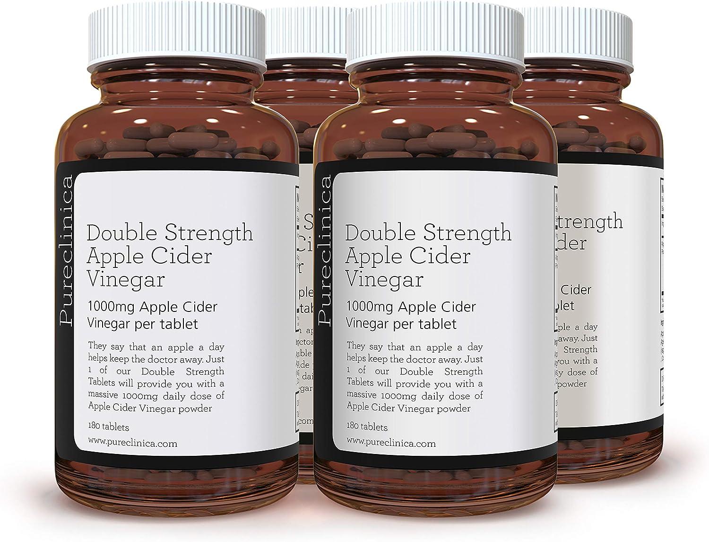 Double Strength Apple Cider Vinegar 1000mg x 720 Tablets (4 Bottles of 180 Tablets - 2 Years Supply) SKU: AV3x4