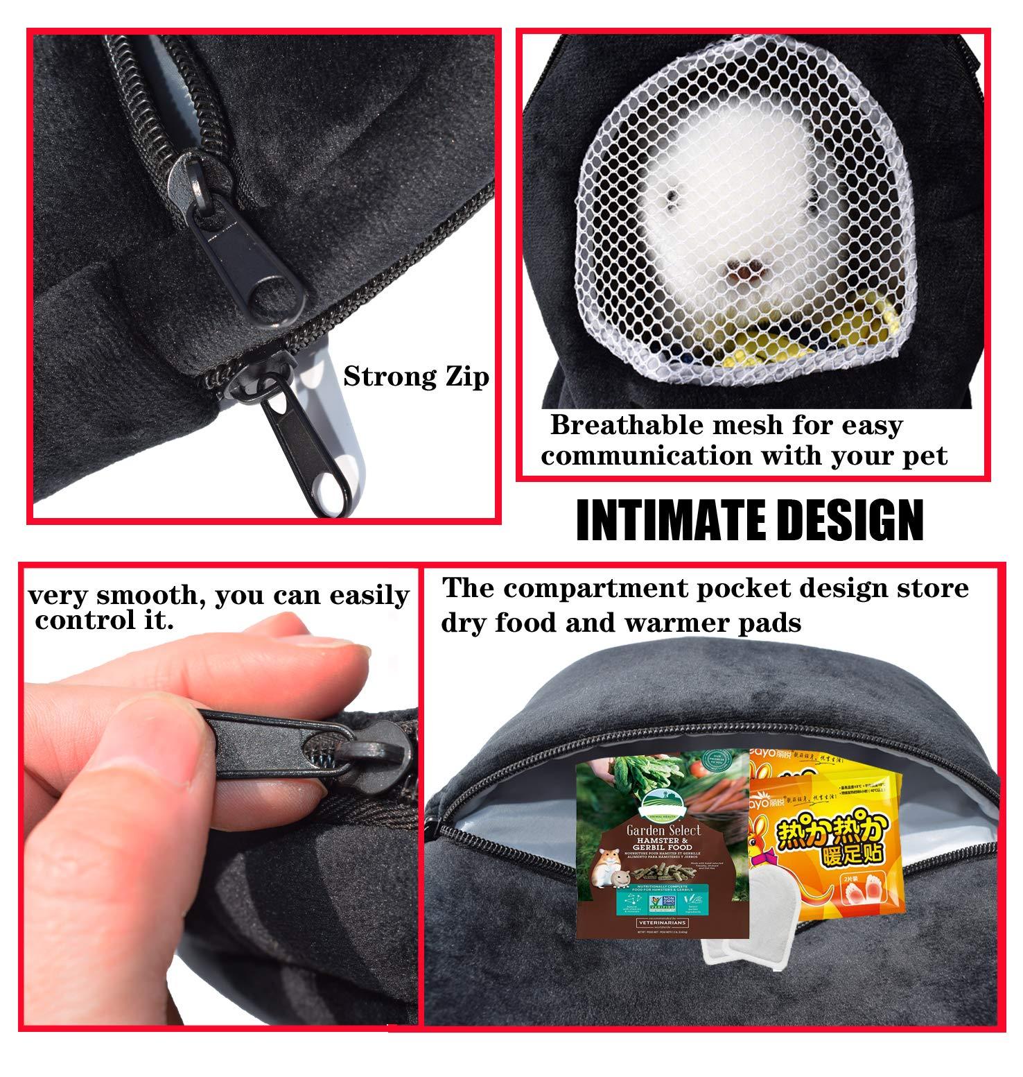 Pet Carrier Bag, 2020 Upgraded Hamster Carrier Super Soft Coral Fleece Pet Sling Carrier Portable Outgoing Travel Bag with Adjustable Shoulder Strap and Breathable Mesh for Sugar Glider Squirrel Etc