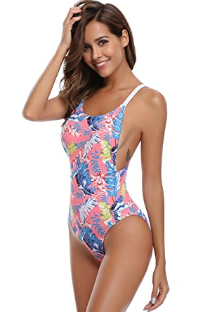 9c3432e899 SHEKINI Women's Monokini Swimsuits High Cut Low Back Leaves Printing One  Piece Swimwear Bathing Suit (