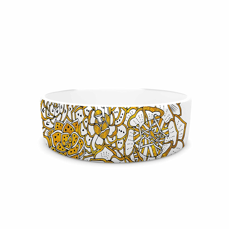 KESS InHouse Pom Graphic Design Bohemian Succulents II gold White Floral Pet Bowl, 7  Diameter