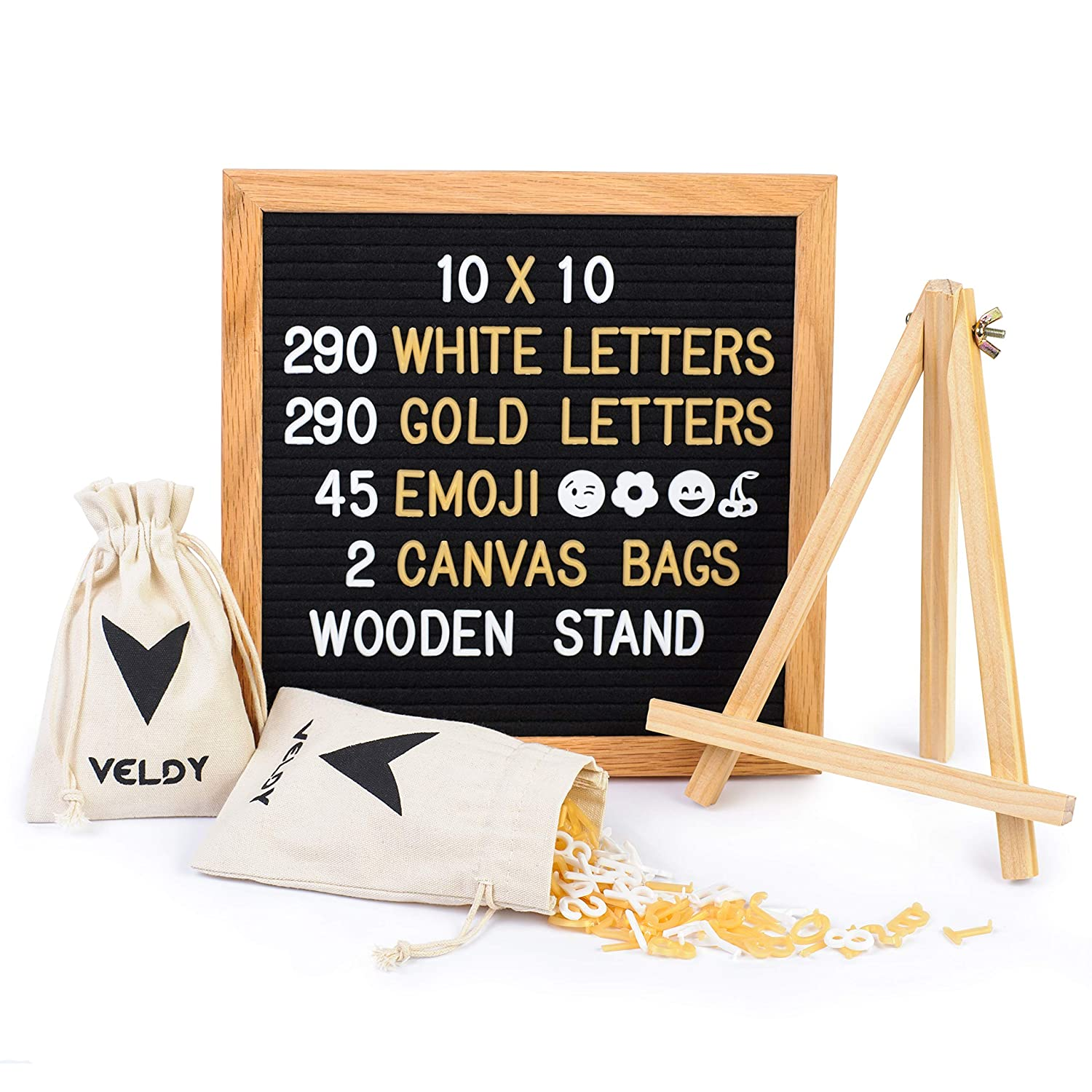 Letter Board - Felt Board for Changeable Messages- Oak Frame- 10x10 Black- 625 White and Gold Plastic Letters/Numbers and Emojis / 2 Storage Bags +Stand and Wall Mount for Home and Office Decoration Anyang Feeker Trading Co. Ltd.