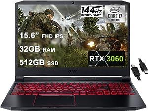 "Acer 2021 Flagship Nitro 5 Gaming Laptop 15.6"" FHD IPS 144Hz Display 10th Gen Intel 6-Core i7-10750H 32GB RAM 512GB SSD GeForce RTX 3060 6GB Backlit Wifi6 USB-C Win10 + iCarp HDMI Cable"