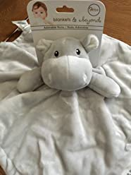 15e8a01825dc Blankets   Beyond- Light Gray Hippo Nunu Security Blanket