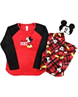 Disney Mickey Mouse Plush Pajama Sleep Set w/ Eyemask