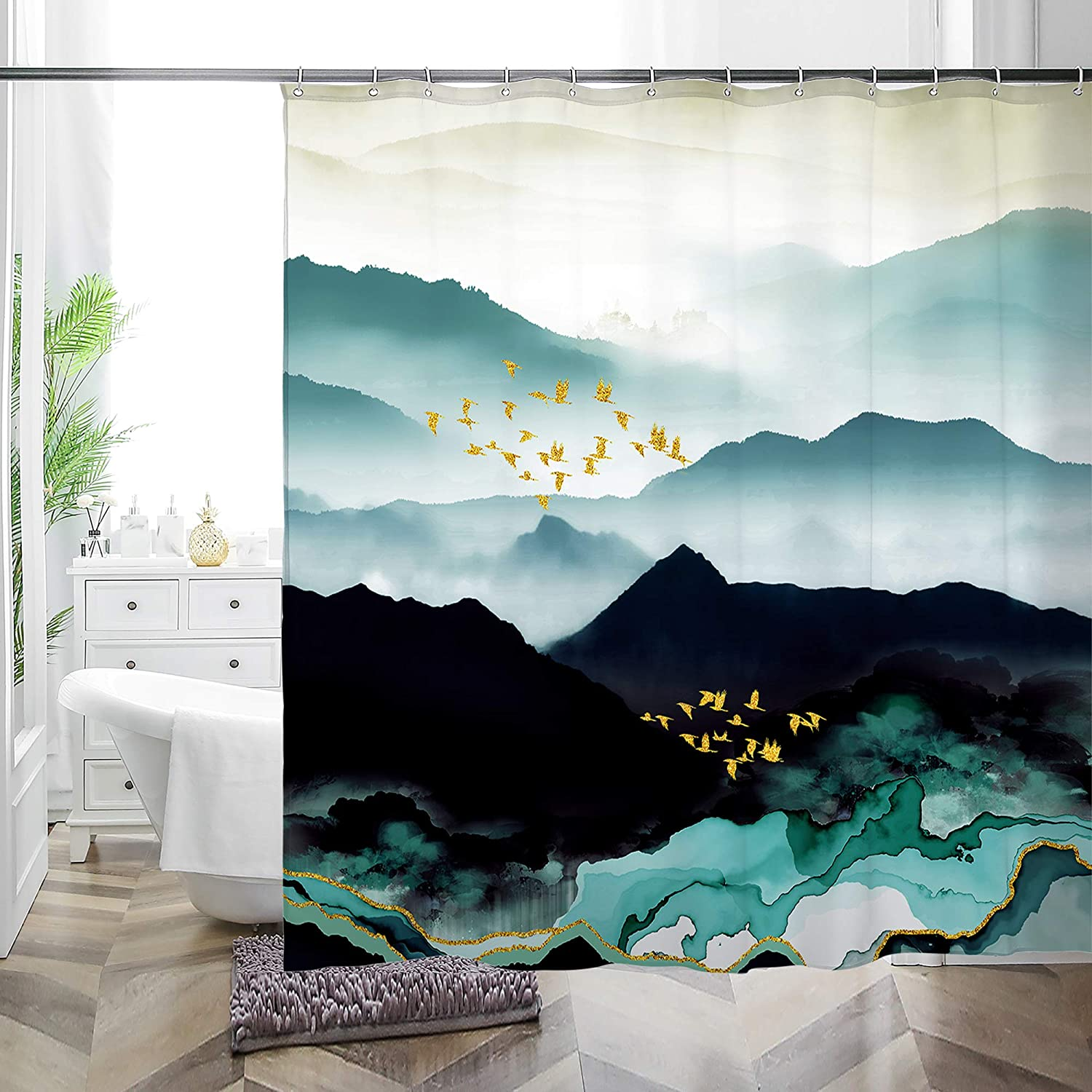 MACOFE Teal Mountain Shower Curtain Set with Hooks,Fabric Black Abstract Shower Curtain for Bathroom Decor,Nature Scenery Waterproof Bathroom Curtain 72x72 Inch