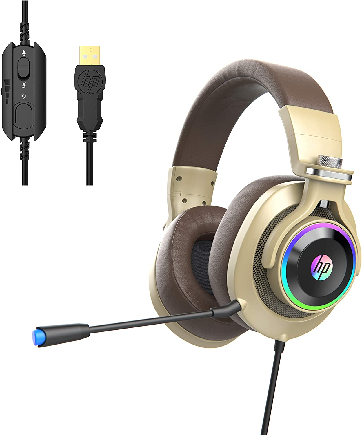 HP Wired PC Gaming Headphones with 7.1 Surround Sound, RGB LED Lighting, Noise isolating Over Ear Gaming Headset with Adjustable Mic, for PC, Mac, Laptop - Gold