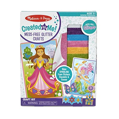 Melissa & Doug Created by Me! Mess-Free Glitter Crafts Craft Kit (Make 18 Foam Stickers, 4 Bracelets, 4 Scenes, Great Gift for Girls and Boys - Best for 5, 6, 7, 8, 9 Year Olds and Up): Toys & Games