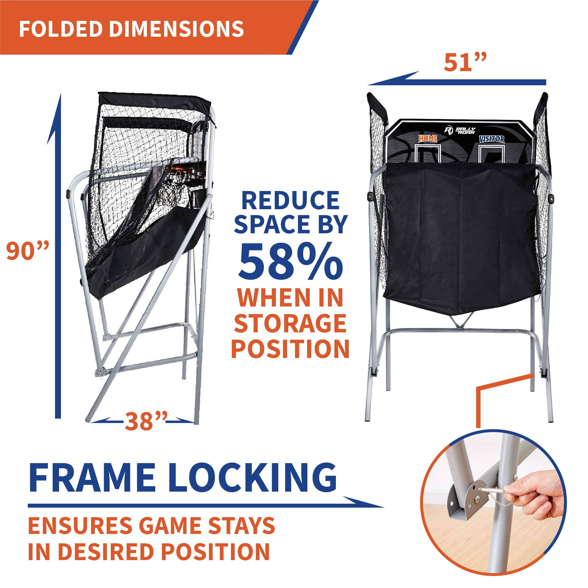 Classic Shootout Basketball Arcade Game, Home Dual Shot with LED Lights and Scorer - 8-Option Interactive Indoor Basketball Hoop Game with Double Hoops, 7 Basketballs, Pump - Foldable Space Saver by Rally and Roar (Image #4)