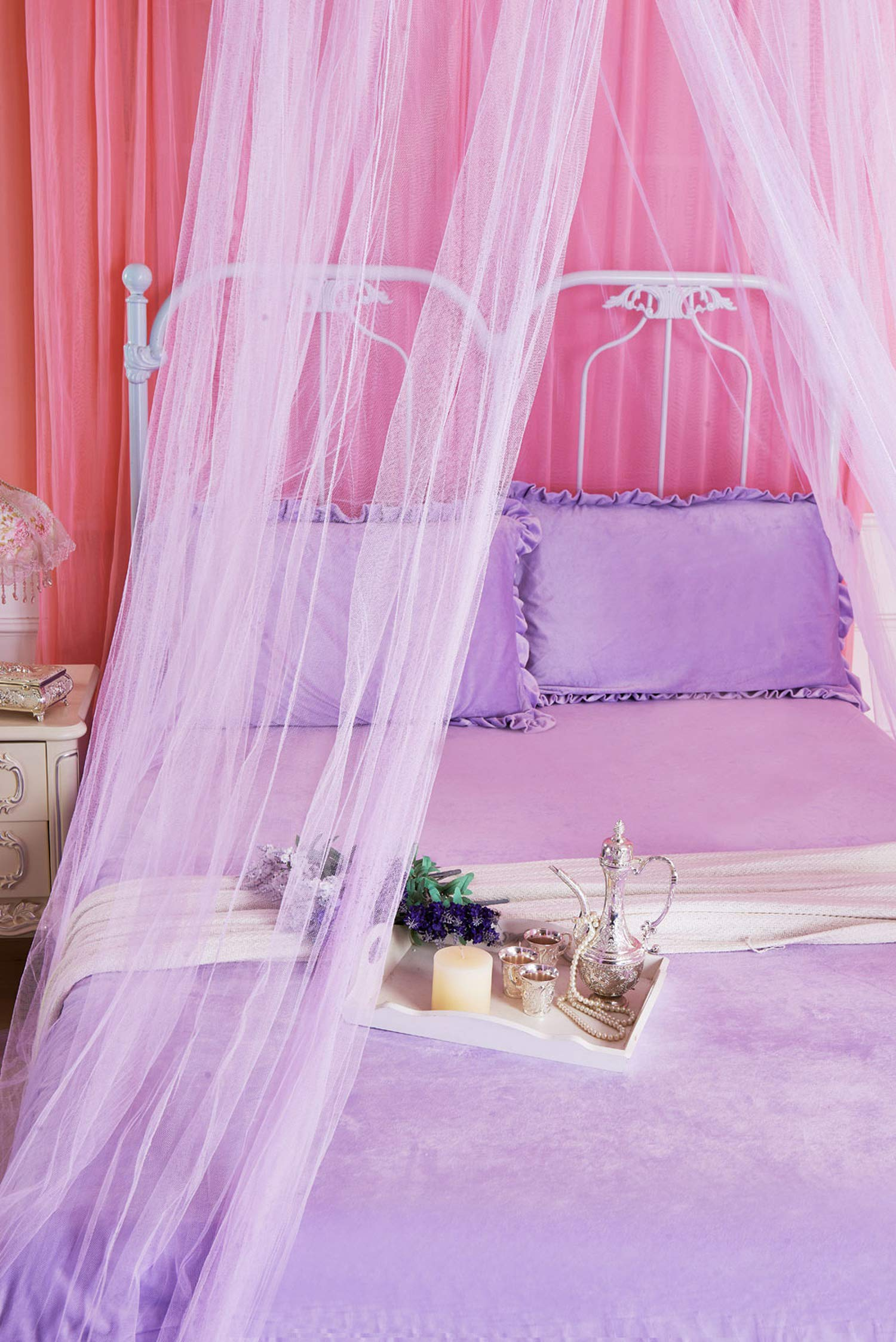 Portable Mosquito Net for Bed Canopy Round Canopy Netting Mesh Lace Curtain Bed Tent Anti Bug Insert Cibinlik Purple Nets,Pink,1.5m (5 feet) Bed by SuWuan mosquito net (Image #5)