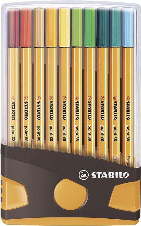 Rotulador puntafina STABILO point 88 - Estuche premium ColorParade gris y naranja - Con 20 colores: Amazon.es: Oficina y papelería