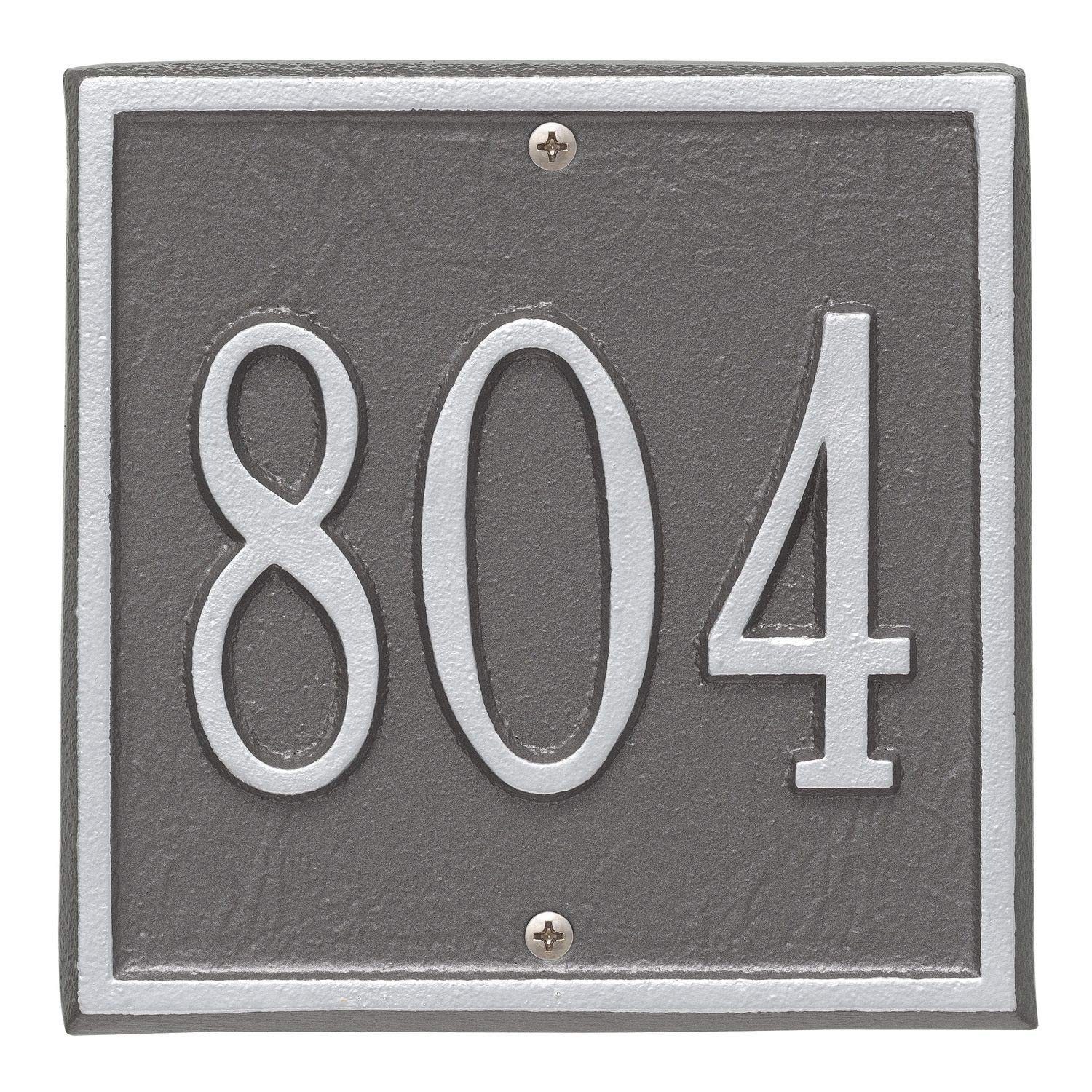 Whitehall Personalized Cast Metal Address Plaque - Square 6'' x 6'' House Number Sign - Allows Special Characters - Pewter/Silver