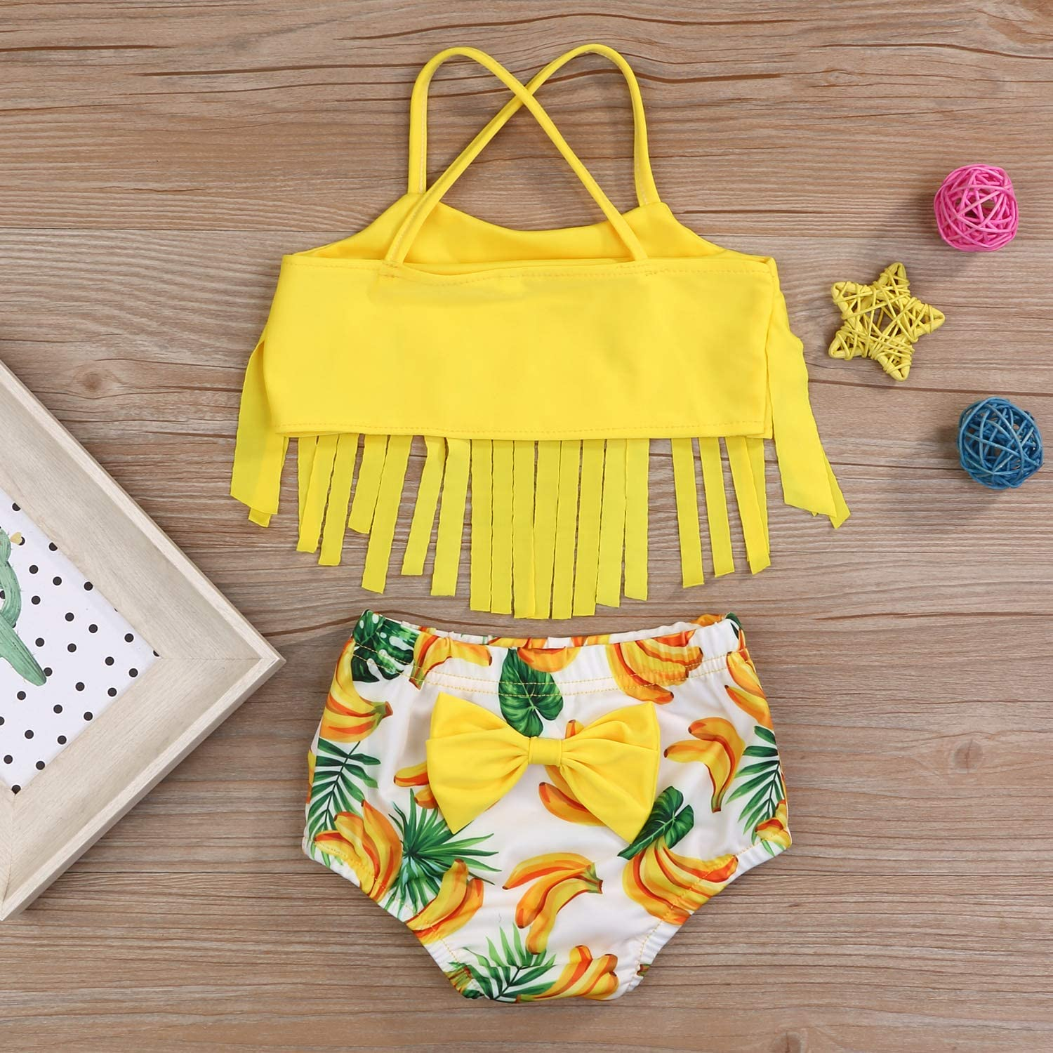 YOUNGER TREE Toddler Baby Girl Swimsuit Dinosaur Tassel Sling Bikini Top+Shorts Bathing Suits Beachwear Summer Clothes
