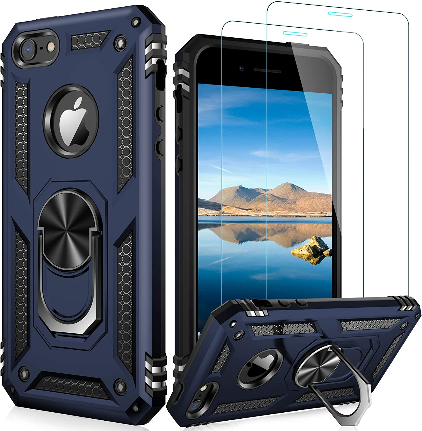 LUMARKE iPhone SE Case(2016),iPhone 5s Case,iPhone 5 Case with Tempered Glass Sreen Protector,Pass 16ft Drop Test Military Grade Cover Protective Phone Case for iPhone 5/5s/SE 2016 Blue