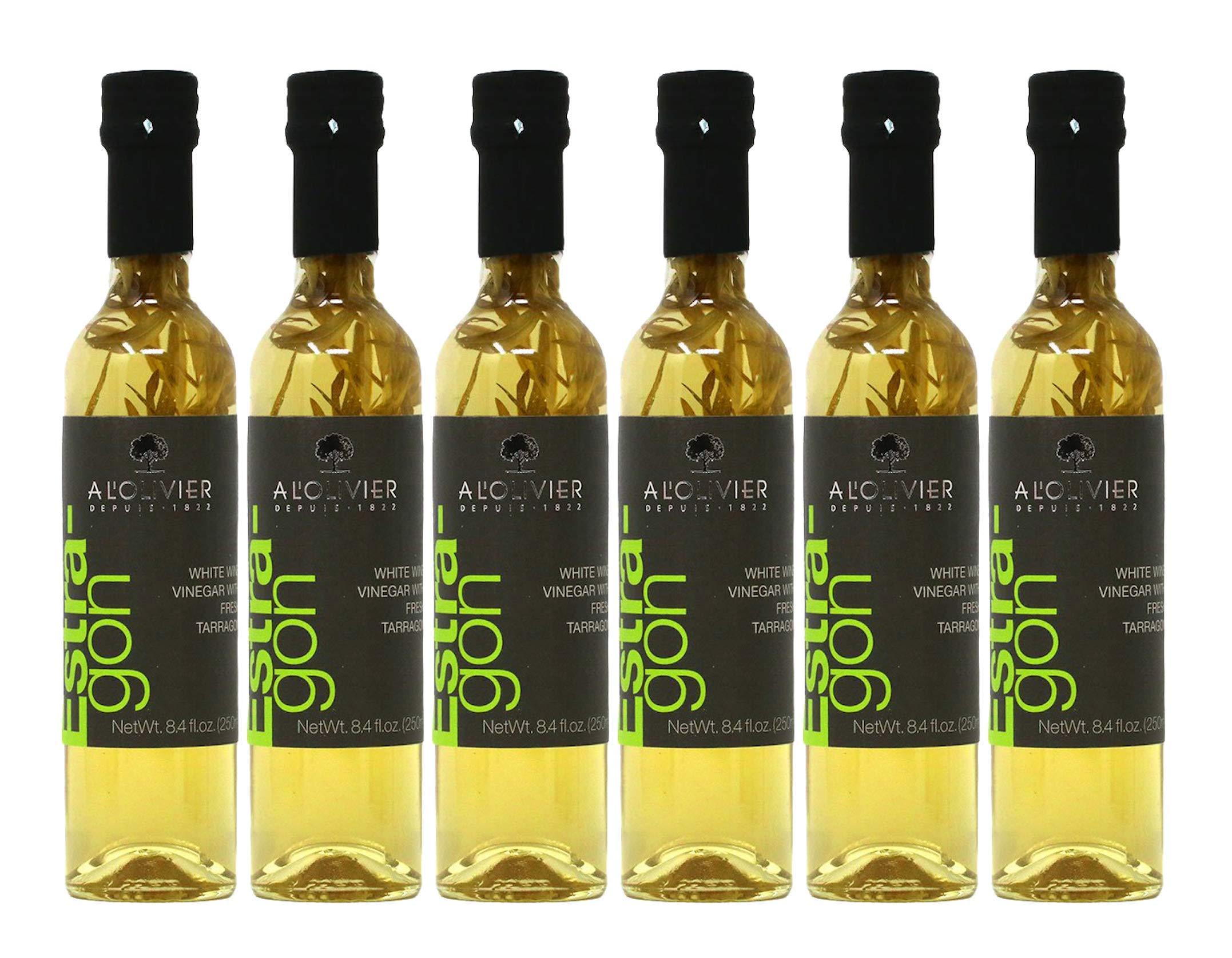 A L'Olivier Vinegar, White Wine Tarragon, Imported France - 8.4 Fl Oz | Pack of 6 by A L'Olivier