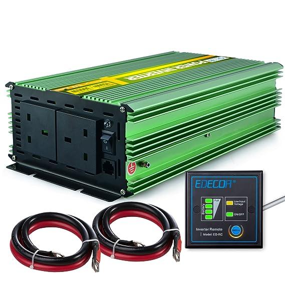 EDECOA inversor de corriente 1.500 W onda sinusoidal pura CC 12 V ...