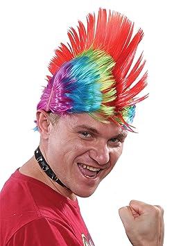 Peluca punk multicolor hombre - Única