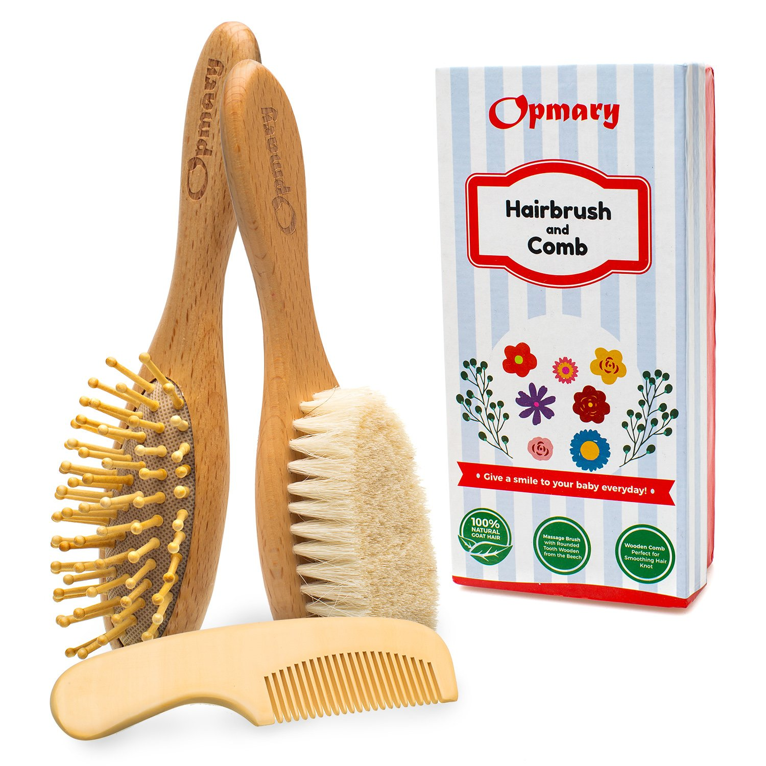 Unisex Baby Hair Brush Set with Natural Goat Bristles | Soothing Cradle Cap Brush + Wooden Bristles Massage Brush & Comb for Newborns and Toddlers