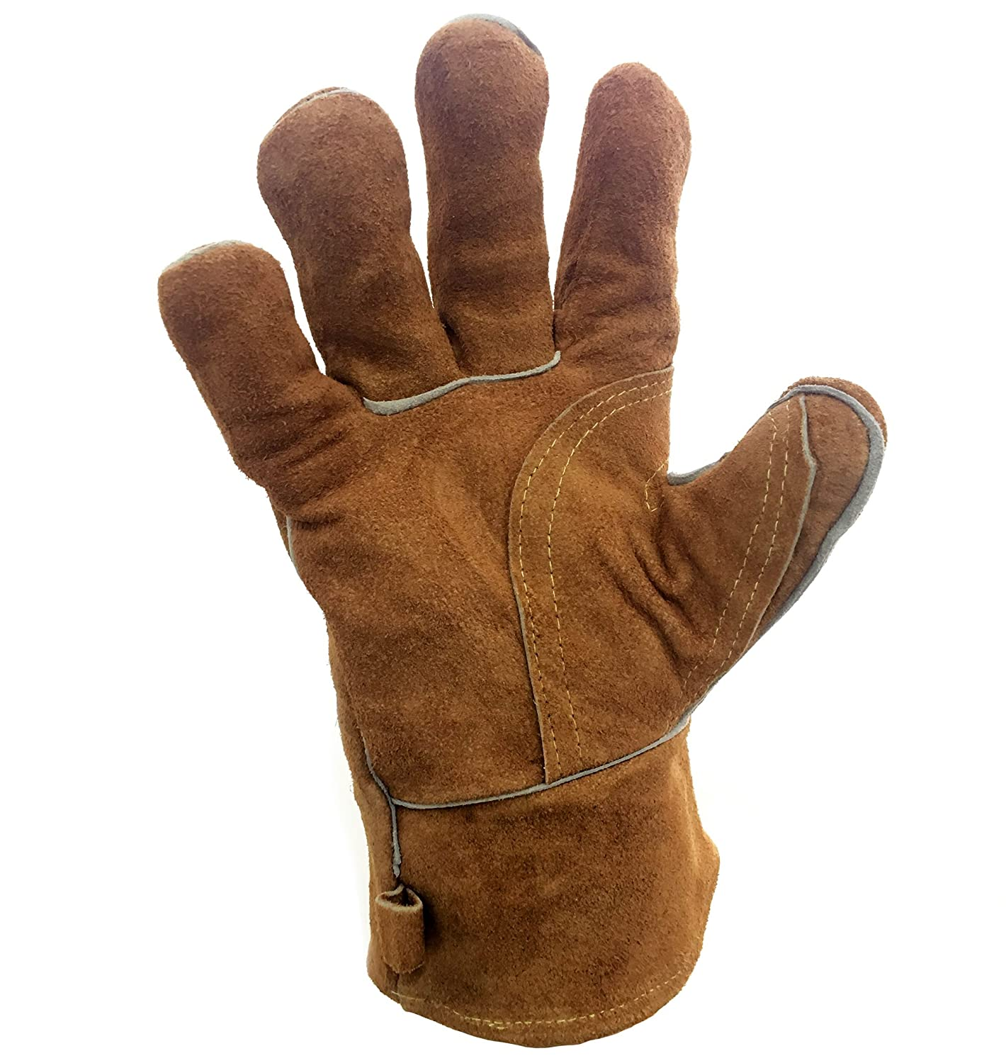 Cosystove Genuine Leather High Quality Heavy Duty Heat Resistant Safety Gauntlet Gloves for Woodburner Multi-Fuel Wood Burning Stoves Protection from Temperature and Ash Barbecue Open Coal Fire