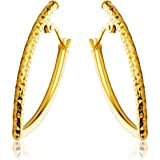 Miore Women's 9 ct Yellow Gold Diamond Cut Hoop Earrings - 3.15 cm