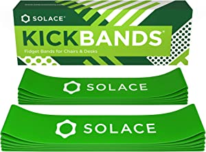 Kick Bands Chair Fidget Bands for Kids with Fidgety Feet - School & Classroom Chairs - Flexible Seating Rubber Band ADHD Sensory Fidgets - Kickbands by Solace (10-Pack)