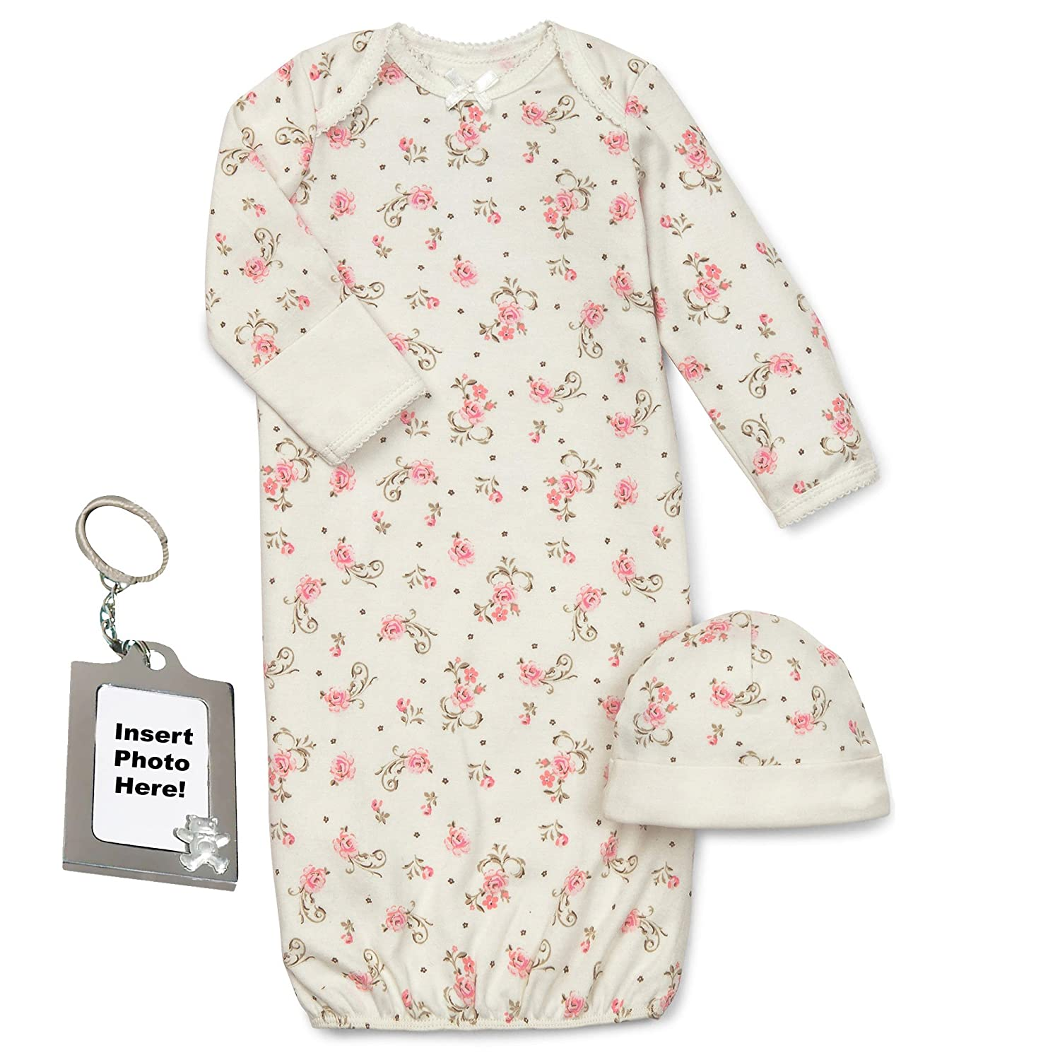 45bb5da42 Amazon.com: Little Me Chevron Blue and White Zig Zag Bear Gown Hat and Keychain  0-3 Mth: Clothing