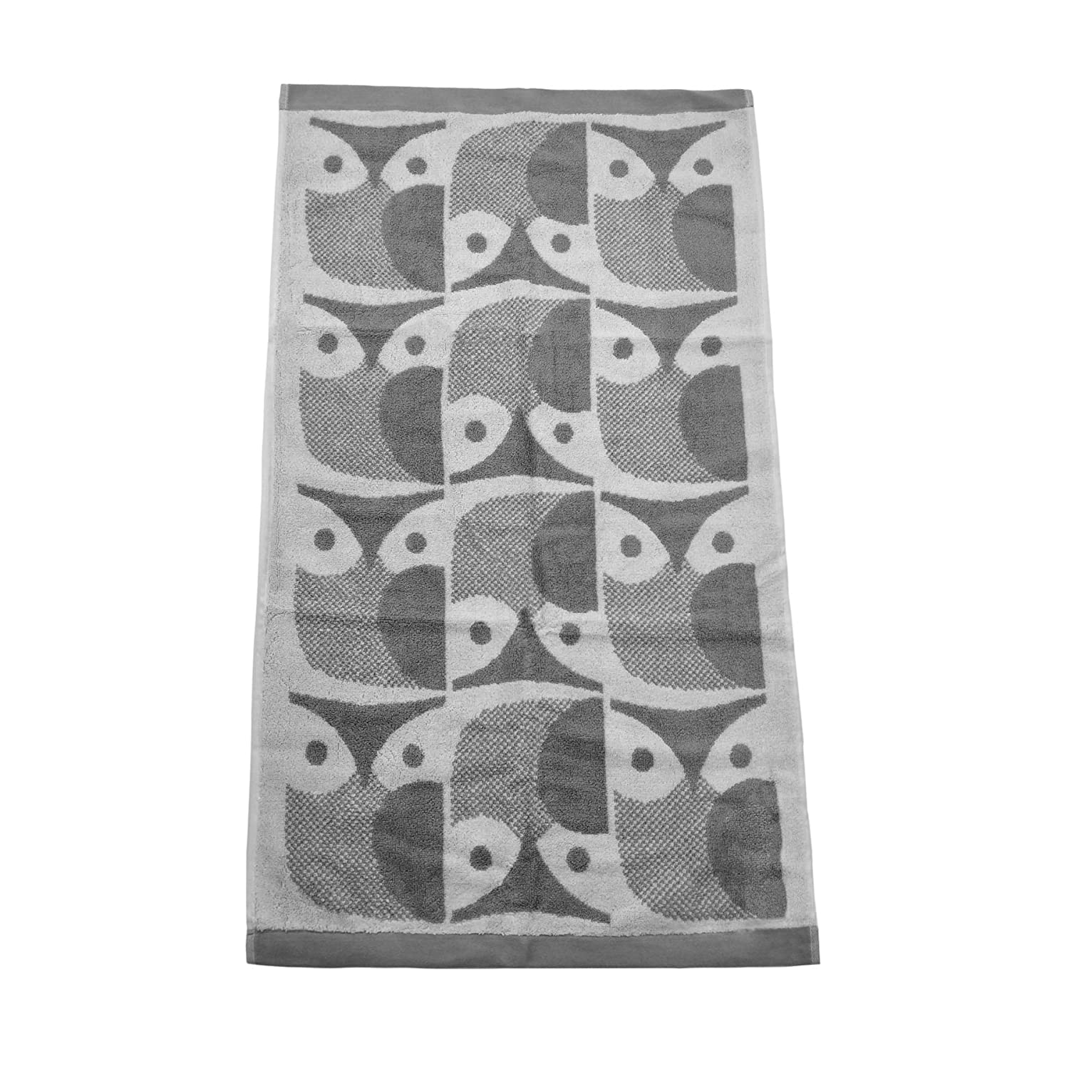 Orla Kiely OWL Light Granite Grey 100% Cotton 580GSM Bathroom Hand Towel W70CM X L125CM