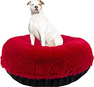 product image for BESSIE AND BARNIE Signature Black Puma/Lipstick Luxury Shag Extra Plush Faux Fur Bagel Pet/Dog Bed (Multiple Sizes)