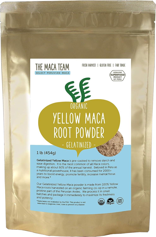 The Maca Team – Yellow Maca Root Powder Gelatinized – 100% Certified Organic & Fair Trade – GMO-Free – 1 Pound, 50 Servings