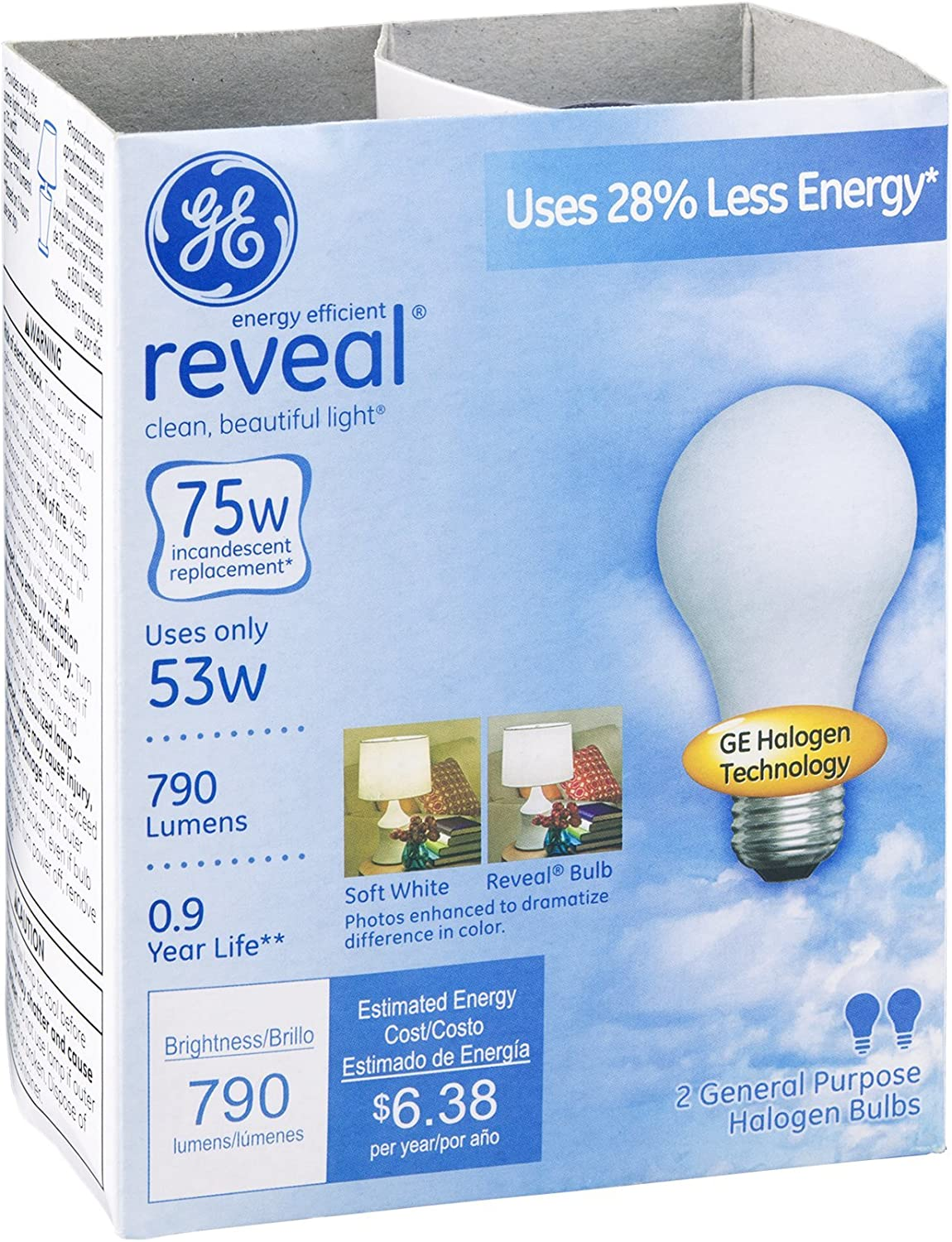 Ge Reveal Halogen Bulb White 53 W 790 Lumens A19 Med Base 2 Pack