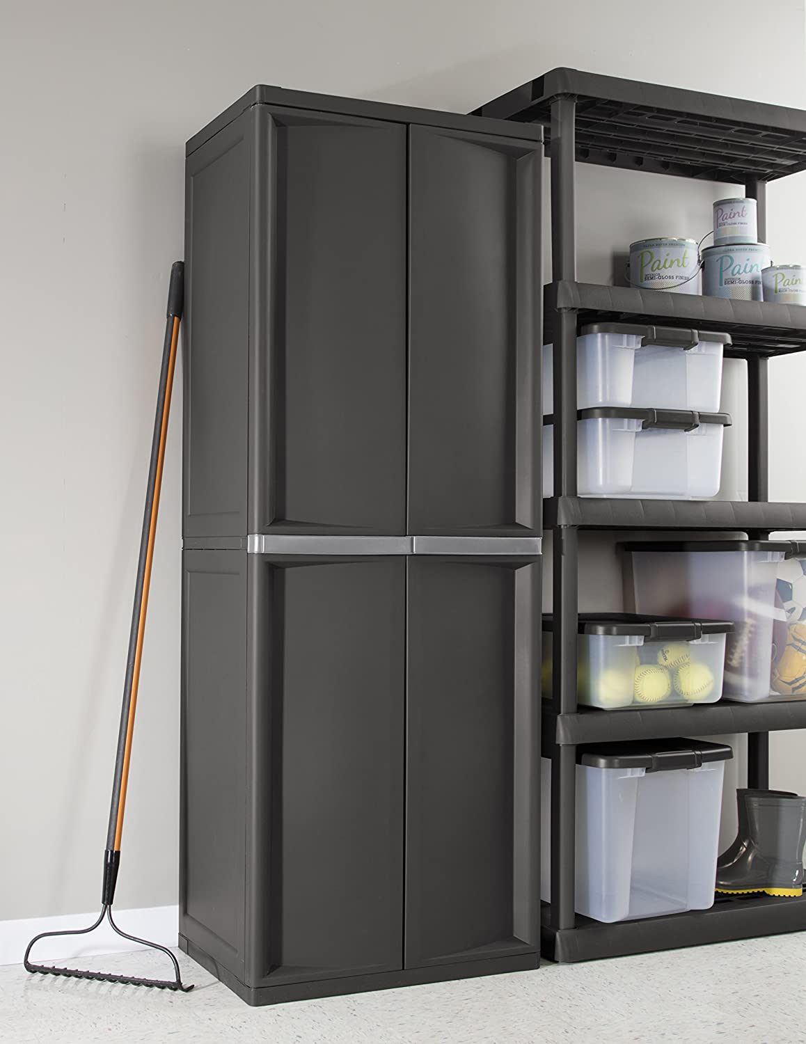 w garage organization standing with storage systems platinum in purpose b sterilite cabinet putty utility the hdx handles plastic cabinets multi gray shelf n free