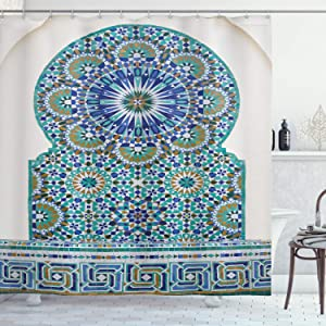 Ambesonne Moroccan Shower Curtain, Ceramic Tile of The Antique Eastern Pattern of Heritage Shape of The Door Architecture Print, Cloth Fabric Bathroom Decor Set with Hooks, 75