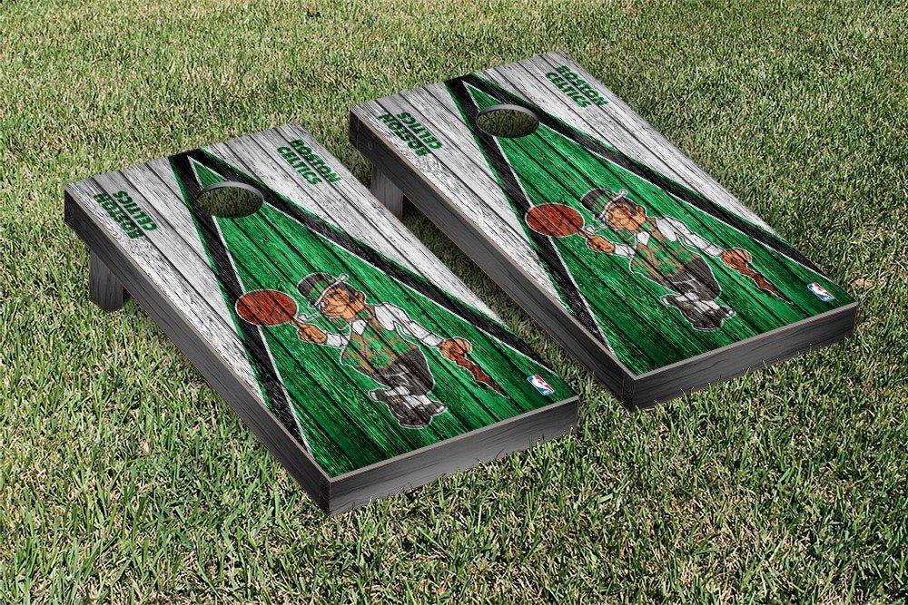 Boston Celtics NBA Basketball Regulation Cornhole Game Set Triangle Weathered Court Version by Victory Tailgate